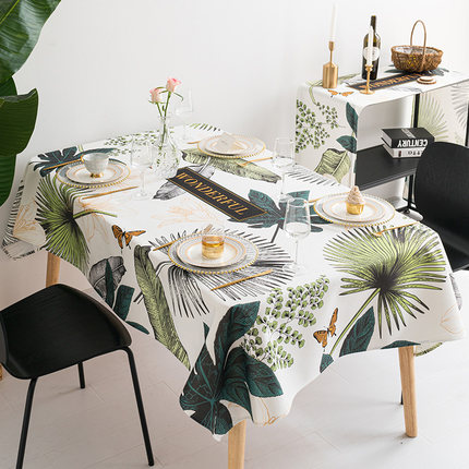 Ins hot sale American style linen cotton rectangle decoration dinning table cloth