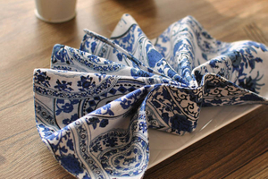 Hot selling Chinese style blue and white porcelain cotton linen western placemat dining table placemat